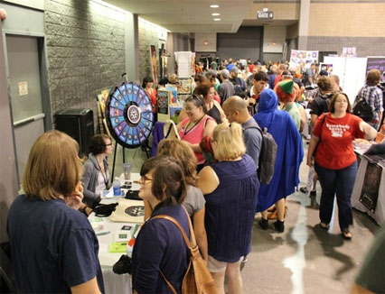 long lines for the prize wheel