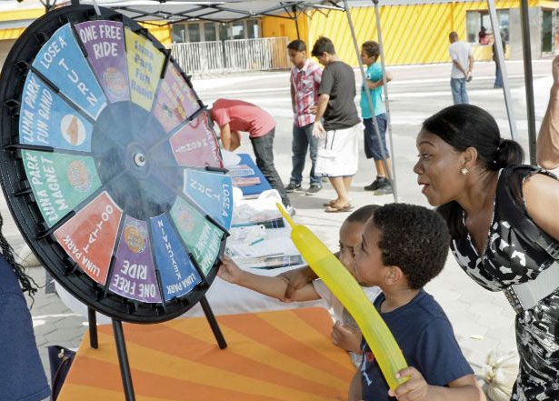 young spinning take a spin on the Prize Wheel