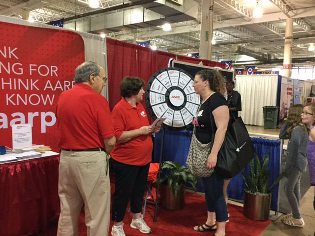 Prize Wheel spinner talks with AARP Ohio