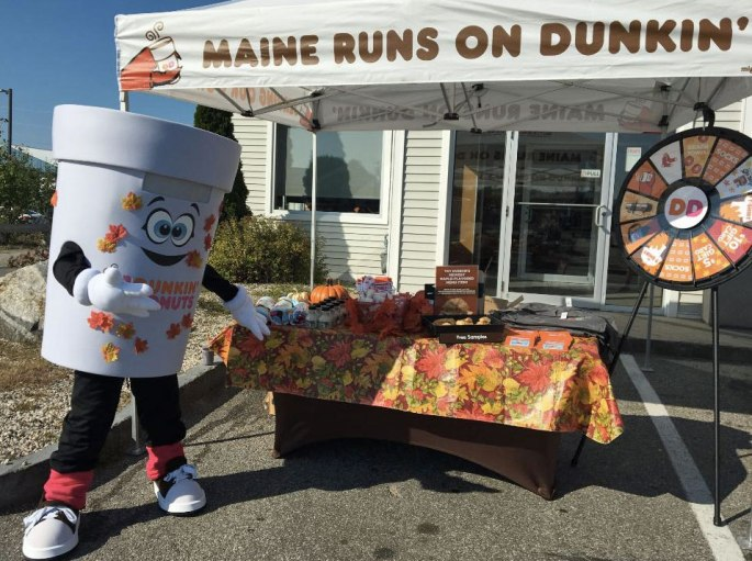 Dunkin' Donuts mascot and wheel