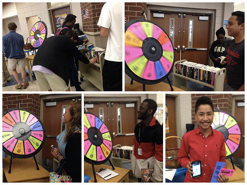 books and the prize wheel
